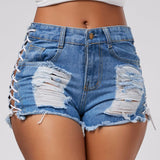 Hot Item!-Women's Jean Short Shorts, Rugged Denim Shorts; Side Strings; High Waist Ripped Shorts - Shop at Creamtoe.com