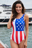 American Flag Print One Piece Swimsuit