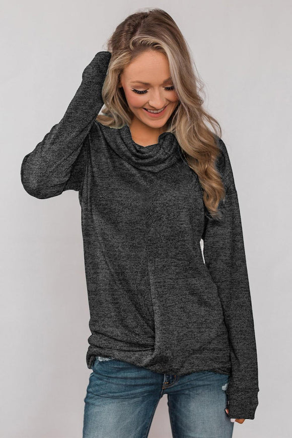 Black Twist of Winter Cowl Neck Top