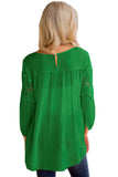 Green Crochet Detail Long Sleeve Babydoll Top