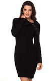 Asymmetric Buttoned Collar Black Bodycon Sweater Dress