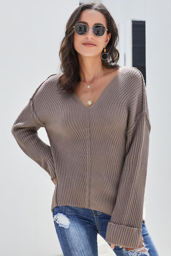Brown Textured V Neck Pullover Sweater