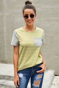 Yellow Striped Short Sleeve Contrast Color T-Shirt with Pocket
