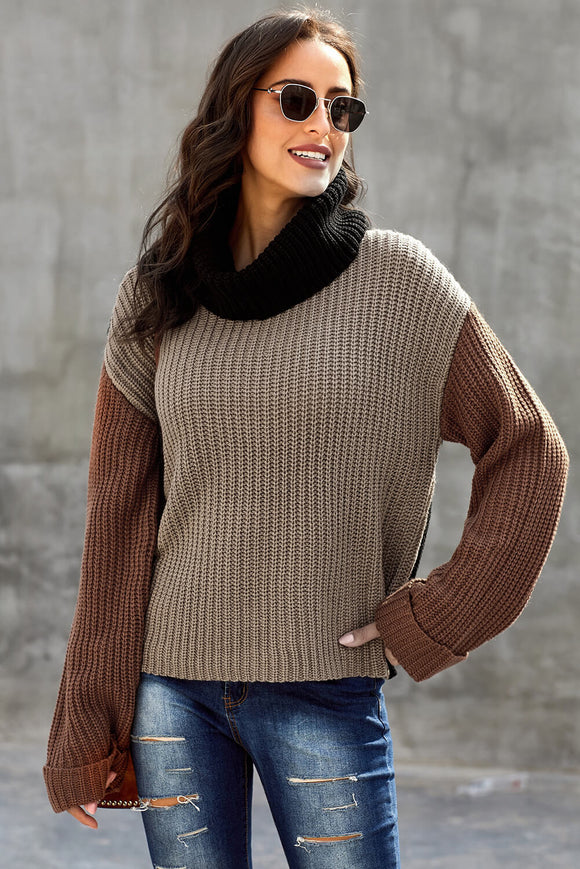 Khaki Long Sleeve Turtleneck Color Block Pullover Knit Sweater