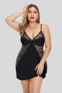 Black Print Lace Hollow-out Plus Size Lingerie