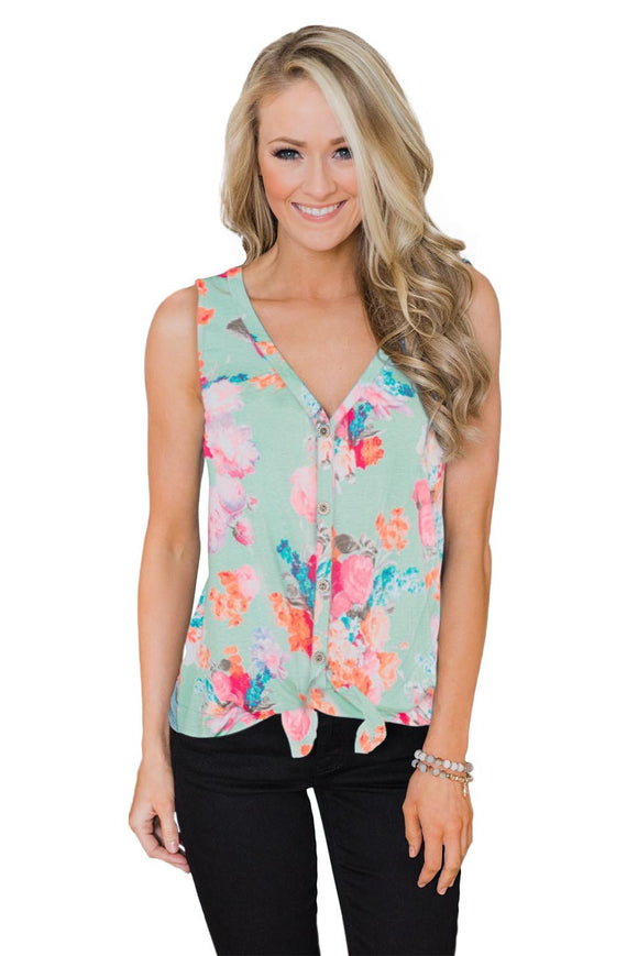 Green Touch The Sky Open Front Floral Tank Top
