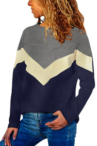 Creamy Chevron Colorblock Long Sleeve Top