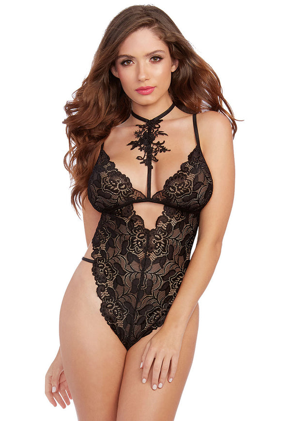Black Roses Fall Lace Teddy