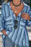 Blue Striped Buttoned Down Blouse