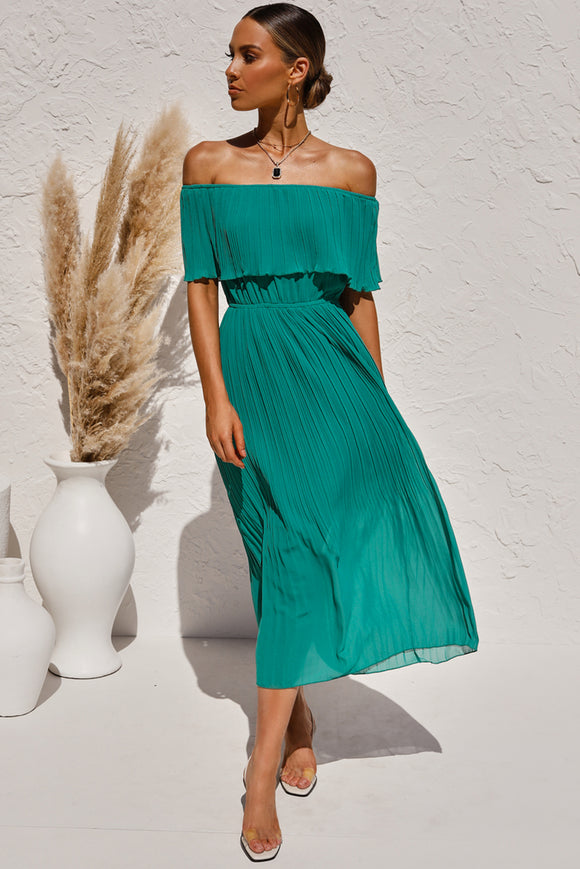 Turquoise Off The Shoulder Pleats Midi Dress