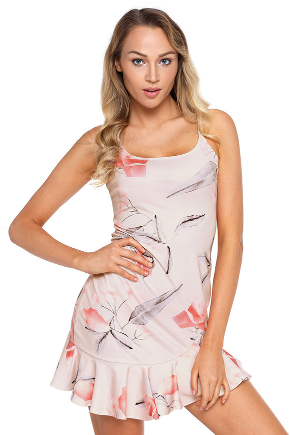 Light Pink Graphic Print Ruffle Hem Mini Dress