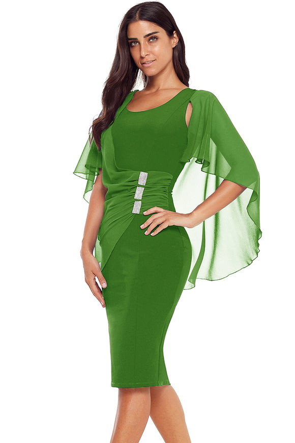 Green Waist Pleats Rhinestone Detail Midi Dress