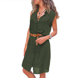 Green Pockets Buttoned Sleeveless Shirt Dress