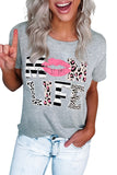 Leopard Mom Life Lips Gray T-Shirt