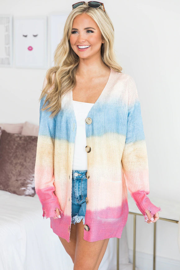 Rainbow Ombre Buttoned Cardigan with Pockets