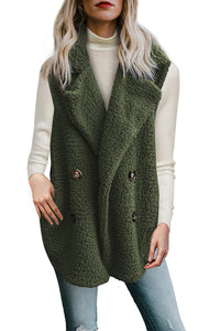 Button Detail Green Lambswool Vest Jacket