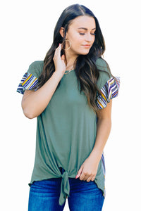 Green Striped Ruffle Sleeve Tie Top
