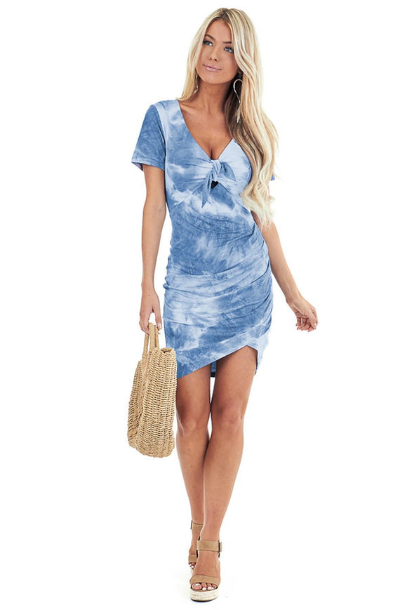Sky Blue Tie Dye Bodycon Mini Dress with Front Tie