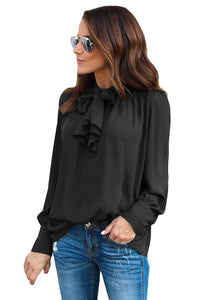 Black Demure Tie Neck Blouse for Women