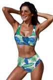 White U-neckline High Waist Tropical Bkini