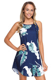 Palm Tree Leaf Print Navy Sleeveless Dress