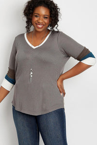 Gray Plus Size Blocked Sleeve Thermal Tee
