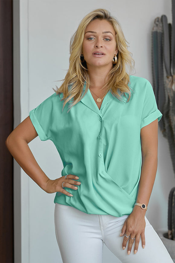 Green Road To Success Button Up Drape Blouse