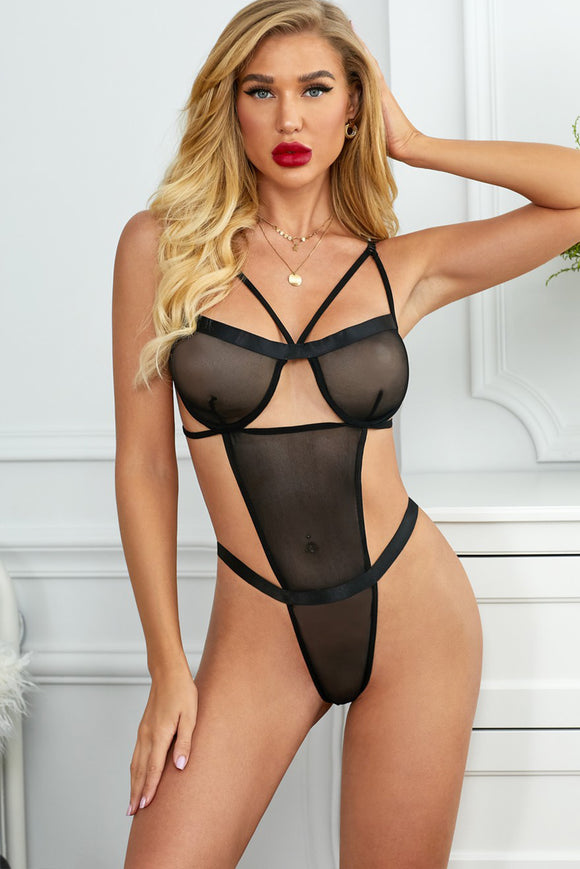 See You Later Tonight Mesh Teddy Bodysuit