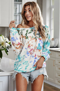 Sky Blue Tie Dye Long Sleeve Top