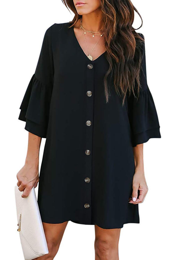 Black V Neck Buttoned Bell Sleeve Shift Shirt Dress
