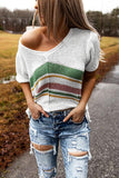 White Stripes Knit T-shirt with Slits