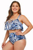 Plus Size Blue Strappy High Waist Swimwear