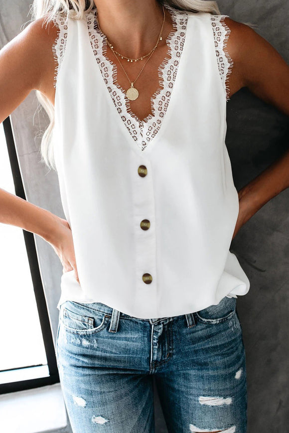 White Lace V Neck Tank Top