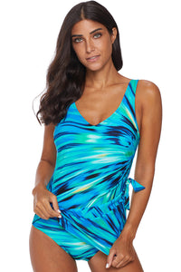 Green Abstract Print Maillot Swimwear