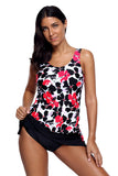 Pink Black Floral Tankini 2pcs Skirtini Swimsuit
