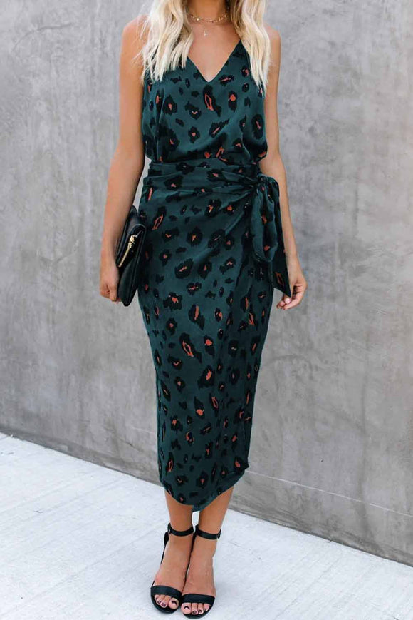 Green Leopard Wrap Midi Dress
