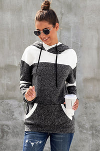 Black Color Block Pullover Hoodie with Pocket
