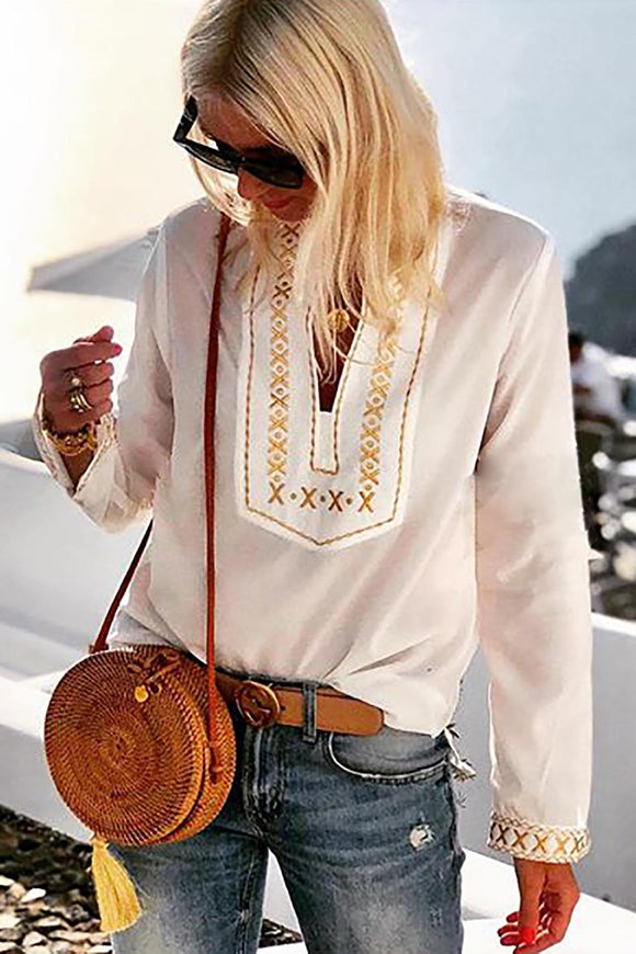 White Boho Embroidered V Neck long Sleeve Casual Top