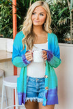 Blue Rainbow Ombre Buttoned Cardigan with Pockets