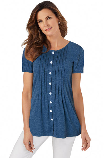 Blue Button Up Crinkle Chest T Shirt