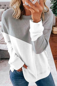 Gray Patchwork Dropped Shoulder Sleeve Sweatshirt