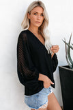 Black Balloon Sleeve Textured Blouse