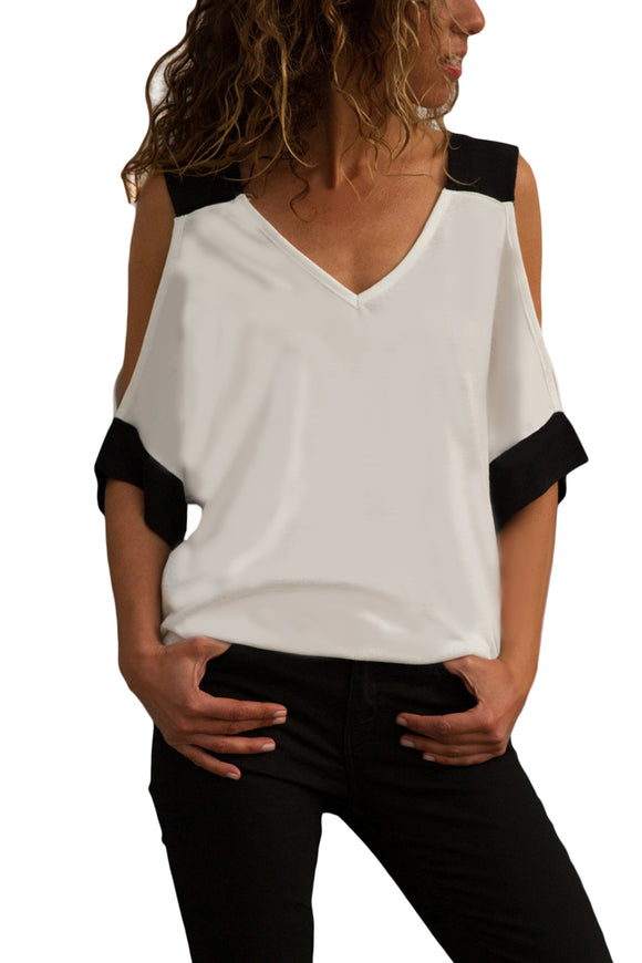 White Black Color Block Cold Shoulder Top