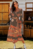 Cute Printed Vintage Floral Maxi Dress