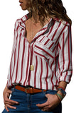 Red Striped Chest Pocket Button Down Shirt