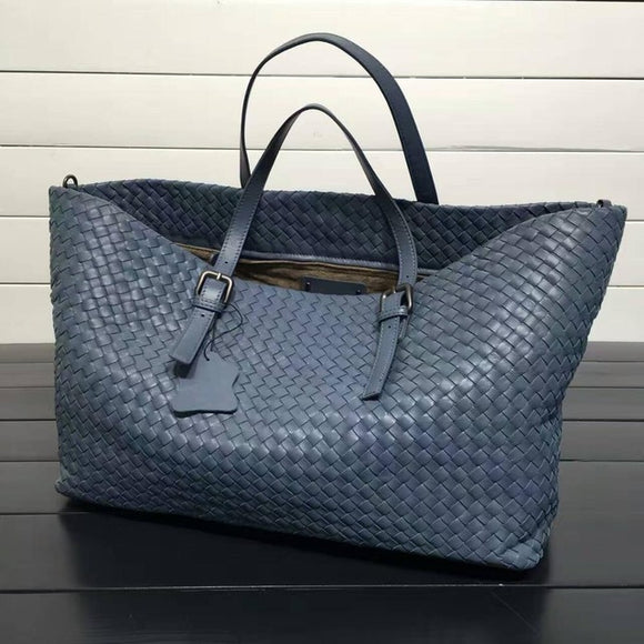 Popular-Genuine Sheepskin Woven Leather Tote Bags/Handbags; Large Capacity Leather Tote Bags - Shop at Creamtoe.com