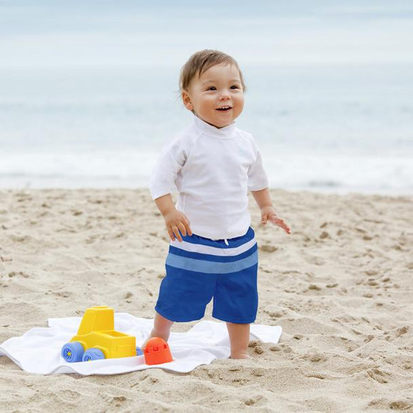 Color Block Trunks with Built-in Reusable Absorbent Swim Diaper