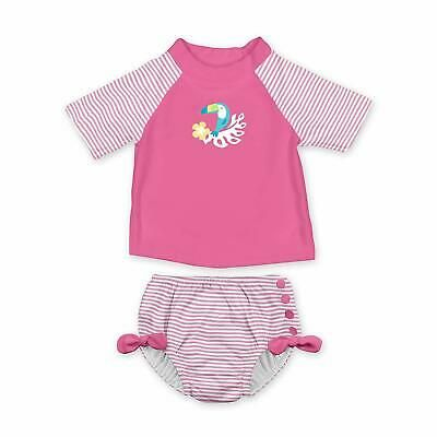 Two-Piece Rashguard Swimsuit Set with Built-in Reusable Absorbent Swim Diaper