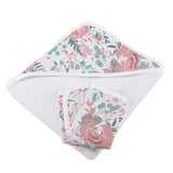 Desert Rose Cotton Muslin Hooded Towel and Washcloth Set