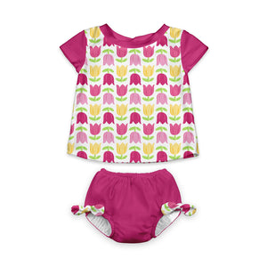 Mod Two-piece Cap Sleeve Rashguard Set with Built-in Reusable Absorbent Swim Diaper